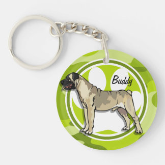 Bullmastiff; bright green camo, camouflage acrylic key chain