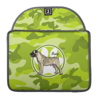 Bullmastiff; bright green camo, camouflage sleeve for MacBook pro