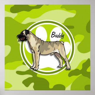 Bullmastiff; bright green camo, camouflage print