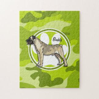 Bullmastiff; bright green camo, camouflage puzzle