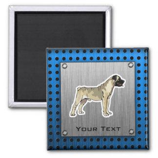 Bullmastiff; Bruhsed metal look 2 Inch Square Magnet