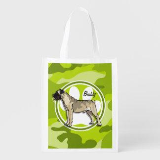 Bullmastiff; camo verde claro, camuflaje bolsas reutilizables