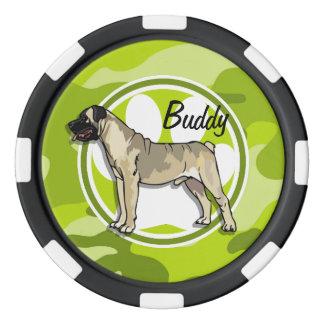 Bullmastiff; camo verde claro, camuflaje juego de fichas de póquer
