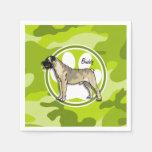 Bullmastiff; camo verde claro, camuflaje servilletas desechables