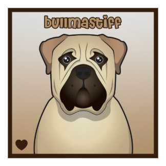 Bullmastiff Cartoon Heart Poster