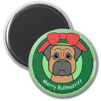 Bullmastiff Christmas 2 Inch Round Magnet