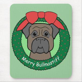 Bullmastiff Christmas Mouse Pad