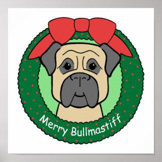 Bullmastiff Christmas Posters