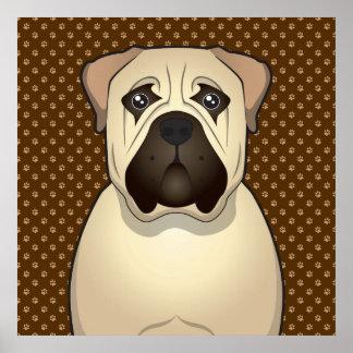 Bullmastiff Dog Cartoon Paws Poster