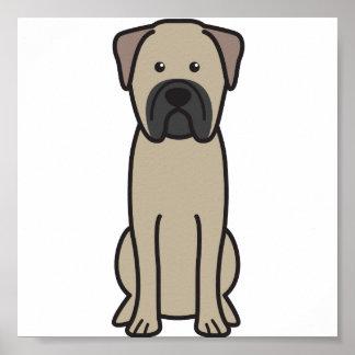 Bullmastiff Dog Cartoon Print