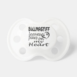 Bullmastiff Dog Leaves Paw On My Heart Pacifiers