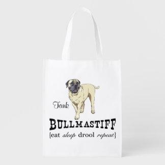 """Bullmastiff """"eat sleep drool repeat"""" Tote Market Tote"""