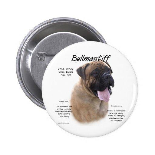 Bullmastiff (fawn) History Design 2 Inch Round Button