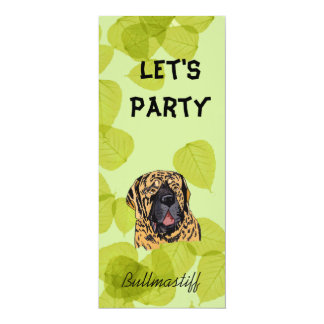 Bullmastiff ~ Green Leaves Design 4x9.25 Paper Invitation Card