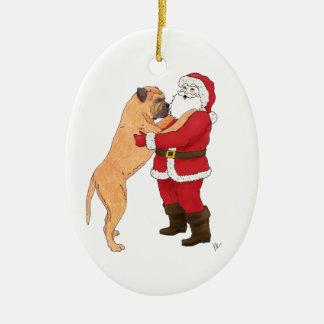 Bullmastiff Jowly Christmas Greeting Ceramic Ornament