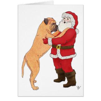 Bullmastiff Jowly Christmas Greeting Greeting Card