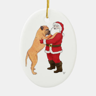 Bullmastiff Jowly Christmas Greeting Christmas Ornaments