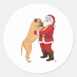 Bullmastiff Jowly Christmas Greeting Round Stickers