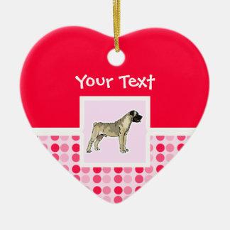 Bullmastiff lindo adorno de cerámica en forma de corazón