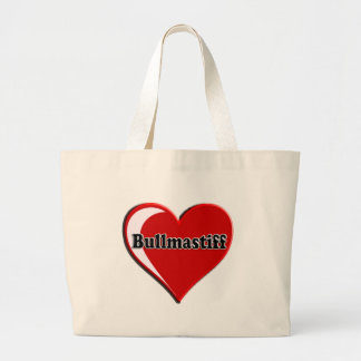 Bullmastiff on Heart for dog lovers Large Tote Bag