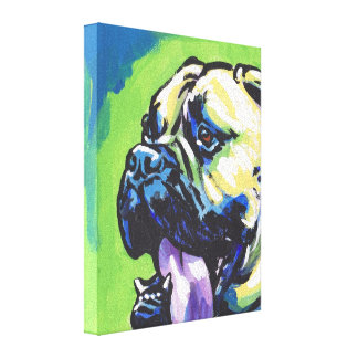 Bullmastiff Pop Dog Art on Wrapped Canvas