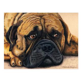 Bullmastiff que espera - arte de la raza del perro tarjeta postal