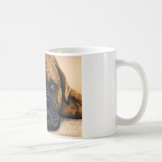 Bullmastiff que espera - arte de la raza del perro taza de café