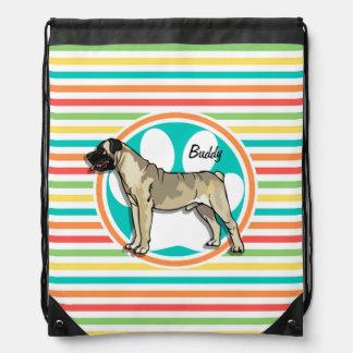 Bullmastiff; Rayas brillantes del arco iris Mochila