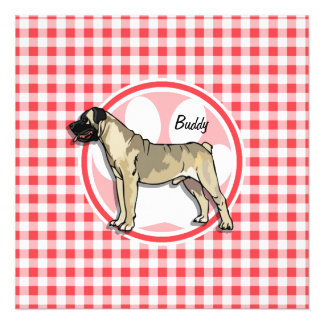 Bullmastiff Red and White Gingham Personalized Announcement