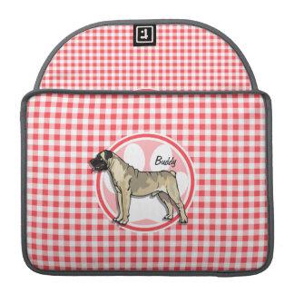 Bullmastiff; Red and White Gingham MacBook Pro Sleeves