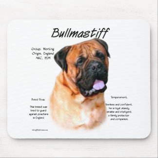 Bullmastiff (red) History Design Mouse Pad