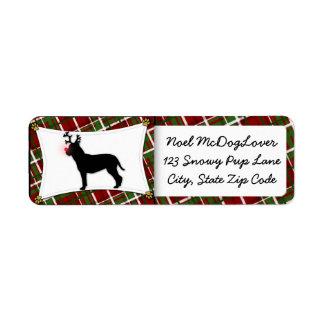 Bullmastiff Reindeer Christmas Return Address Label