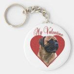 Bullmastiff rojo mi tarjeta del día de San Valentí Llaveros Personalizados