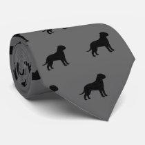 Bullmastiff Silhouettes Pattern Neck Tie