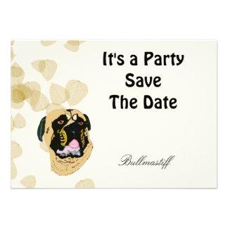 Bullmastiff Tan Leaves Custom Invitation