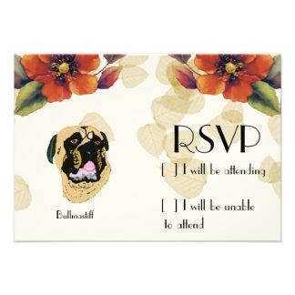 Bullmastiff Tan Leaves Custom Invite