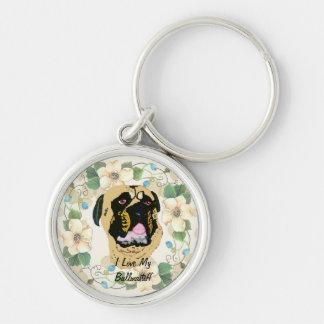 Bullmastiff Tan Leaves Silver-Colored Round Keychain