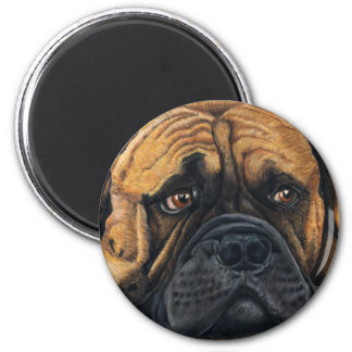 Bullmastiff Waiting - Dog Breed Art 2 Inch Round Magnet
