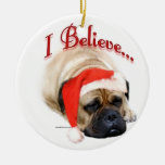 BullmastiffIBelieve Double-Sided Ceramic Round Christmas Ornament