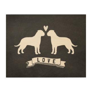 Bullmastiffs Love - Dog Silhouettes w/ Heart Wood Print