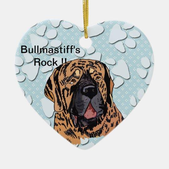 Bullmastiff's Rock !! - Brindle Face Ceramic Ornament