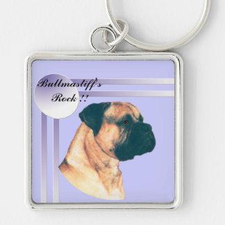 Bullmastiff's Rock !! Silver-Colored Square Keychain