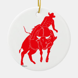 BullriderRed Ceramic Ornament