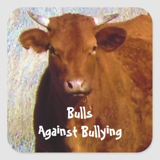 Bulls Against Bullying - Red - Cowboy Parenting Square Sticker