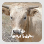 Bulls Against Bullying - White - Cowboy Parenting Square Stickers