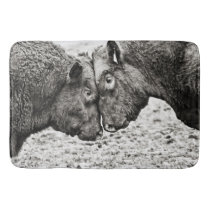 Bulls Butting Heads Photo Bath Mat