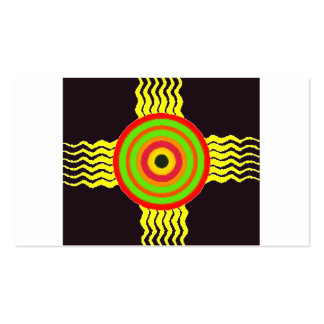 Bulls eye graphic with yellow strikes business card