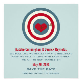 Bull's-Eye Save the Date Invite, Blue & Red Card