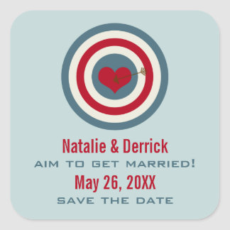 Bull's-Eye Save the Date Stickers, Blue & Red Square Sticker