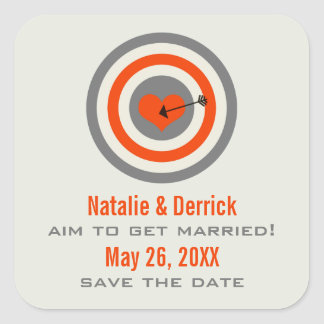 Bull's-Eye Save the Date Stickers, Gray & Orange Square Sticker